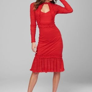 NWT Bebe Dress Ruffle Lace Red Alana Sz 4